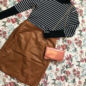 Talbots Brown Soft Leather Skirt